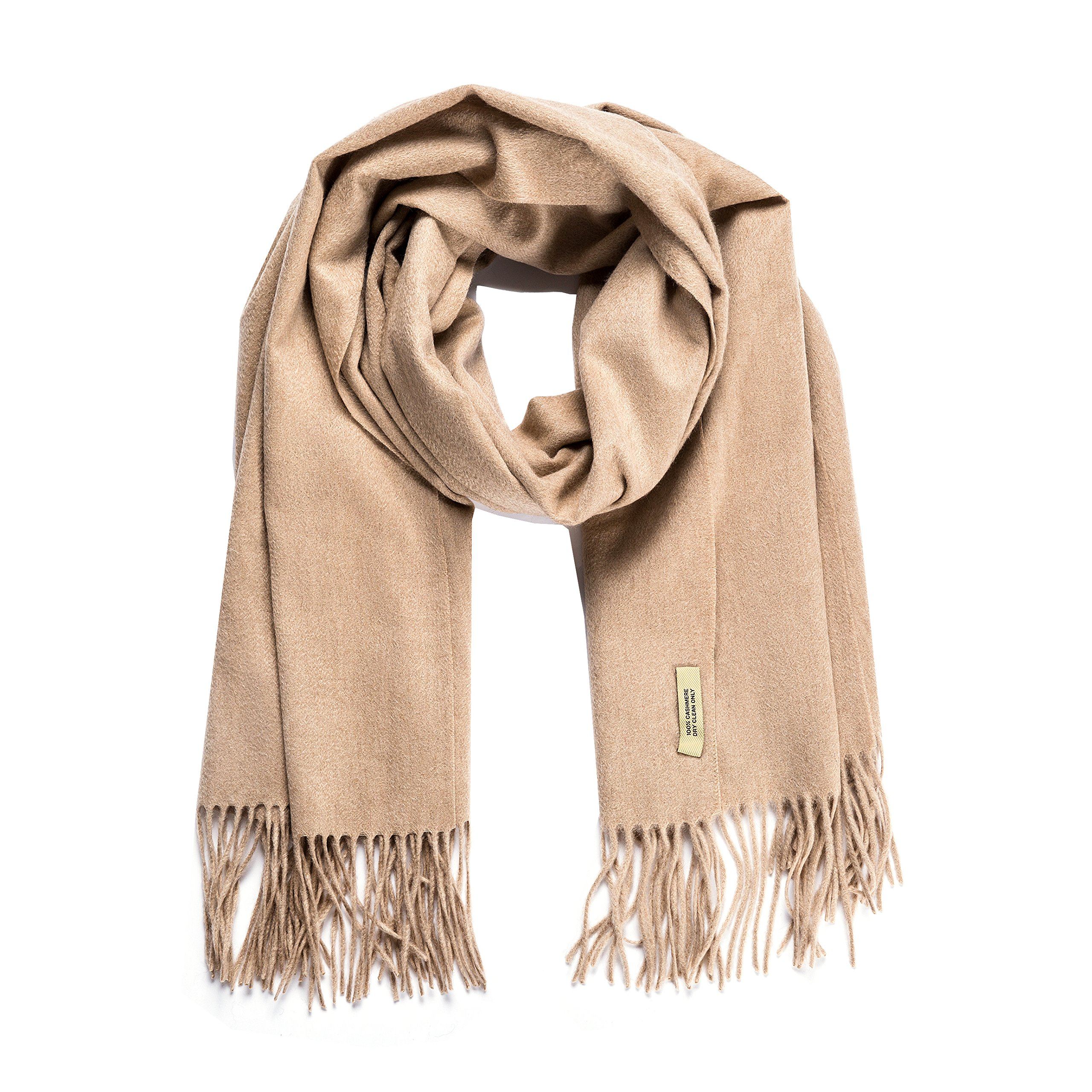 KISSWIN 100% Authentic Cashmere Super Soft and Warm Pashmina Wrap Shawl Extra Large Scarf with Gift Box - Camel
