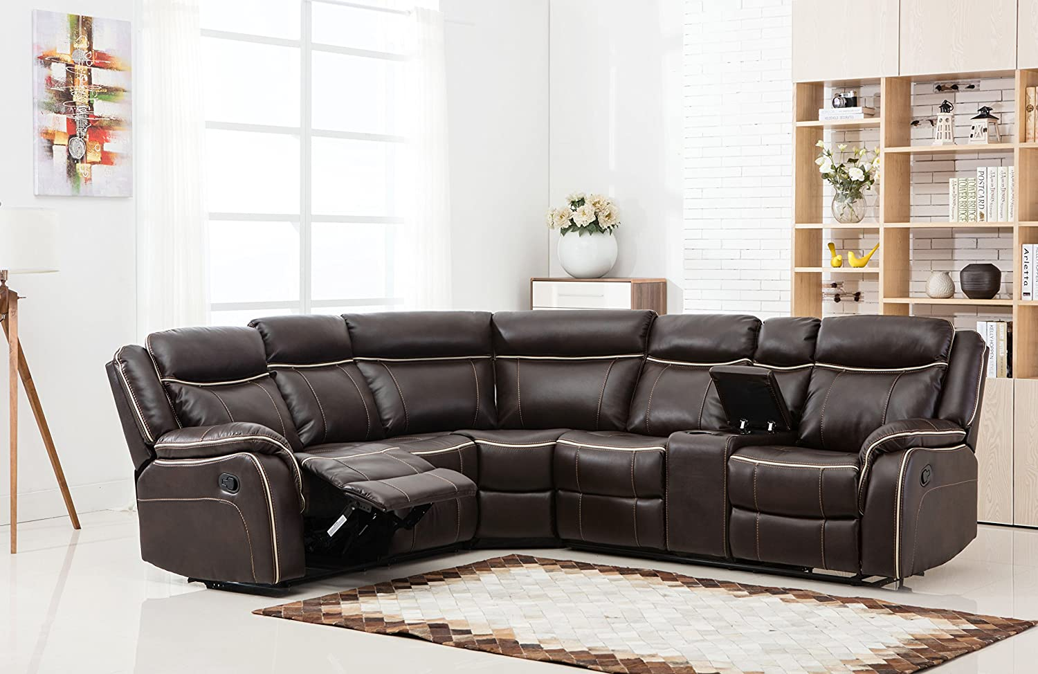 Large Classic and Traditional Two Tone Bonded Leather Reclining Corner  Sectional Sofa (Brown)