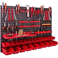 Opslagsysteem wandrek 115x78 cm, gereedschapshouders, 23 stuks. Stapelboxen, opbergkast, extra sterke wandplaten…