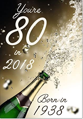 Doodlecards 80th 80 In 2018 Year Born Age Birthday Card Male Or Female