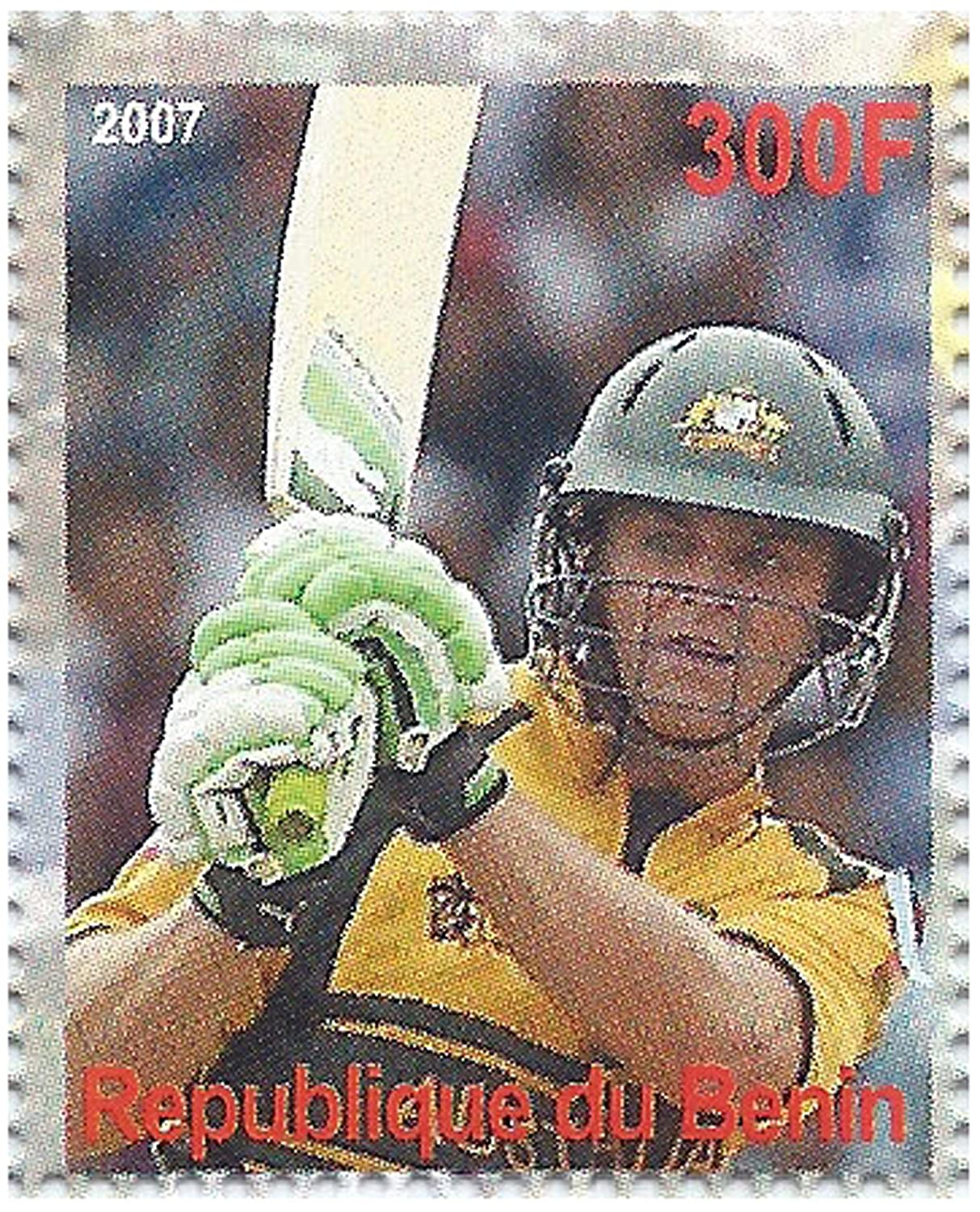 Features 6 mint stamps of memorable moments in Cricket Benin Cricket stamp sheet for collectors 2007