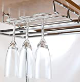 DecoBros 2PK Single Rail Wine Glass Stemware Rack Holder, Chrome