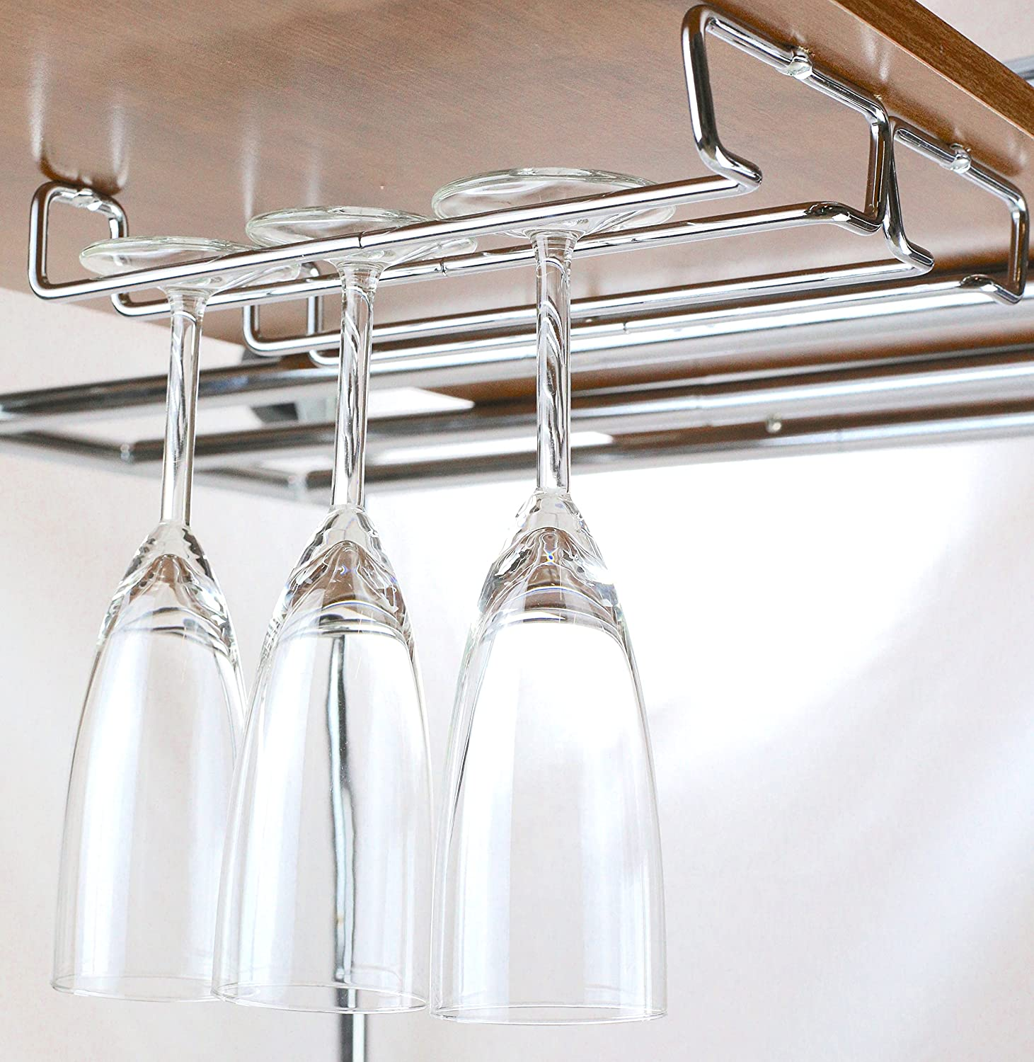 under cabinet wine glass rack. Amazon.com: DecoBros Under Cabinet Wine Glass Stemware Rack Holder, Chrome: Kitchen \u0026 Dining