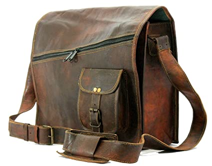 af8069ac6678 Image Unavailable. Image not available for. Color  Handmade World Vintage  Brown 15 quot  Leather Messenger Bag for Men Women Mens Briefcase Laptop  Best
