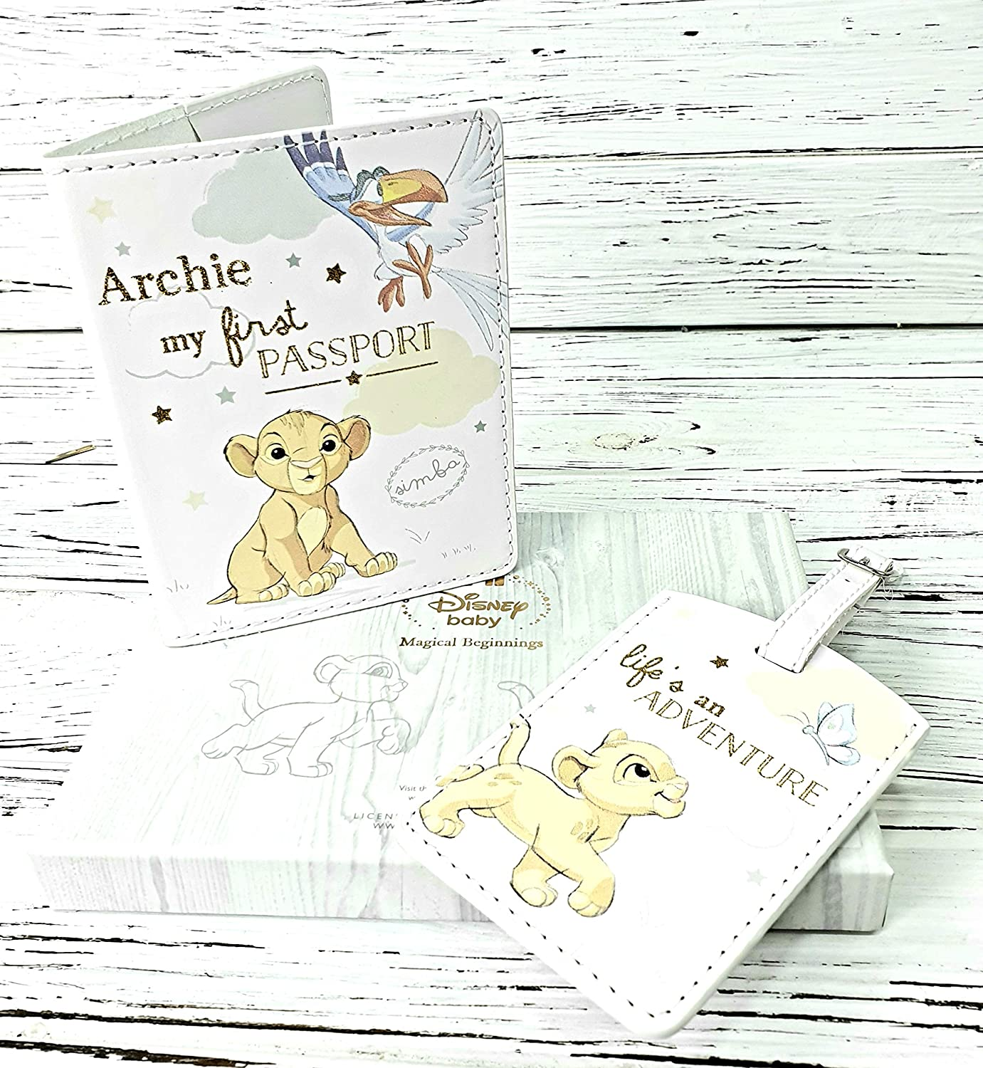Personalised Disney Baby First Passport Cover and Luggage tag Gift Set Lion King