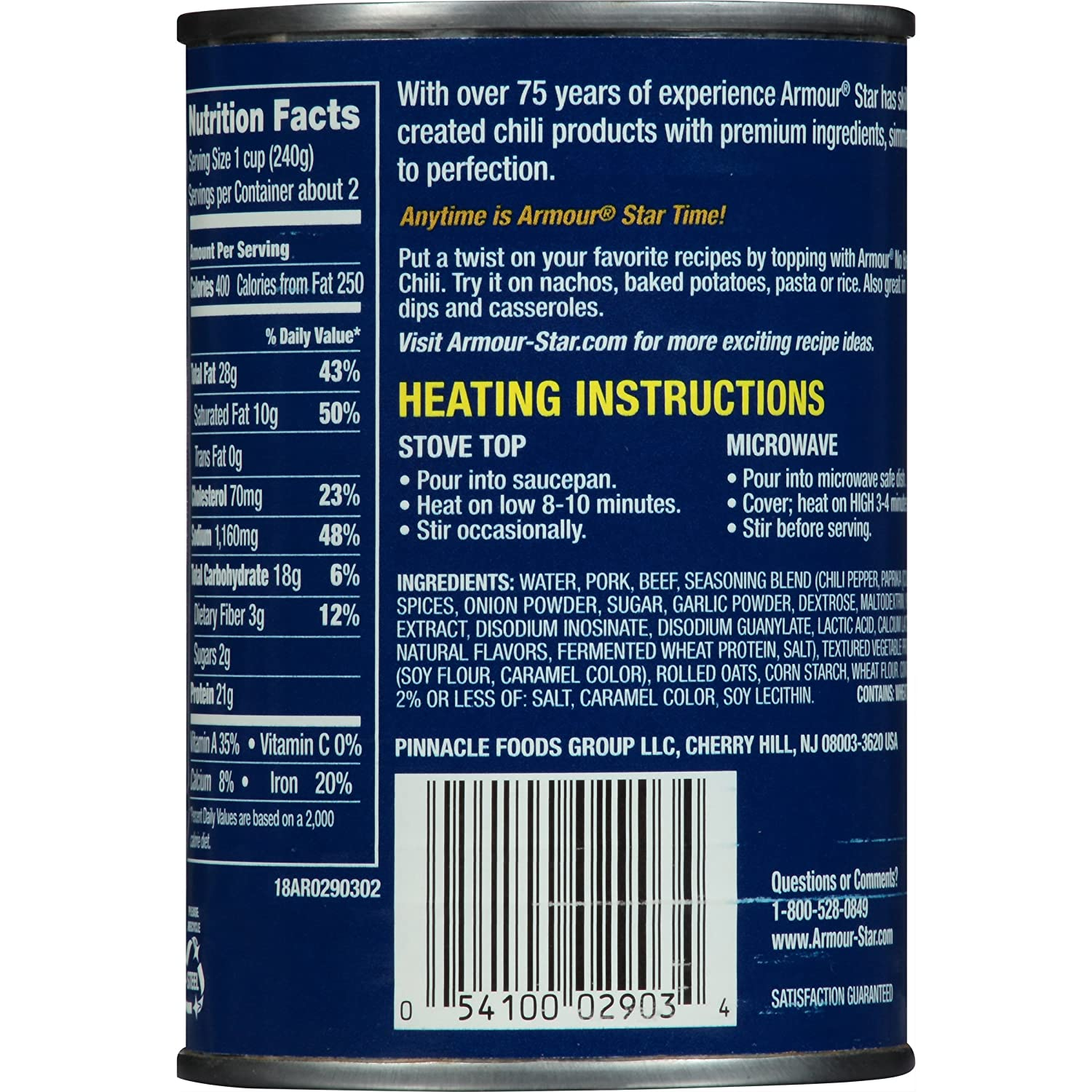 Armour Chili No Beans, 14 Ounce (Pack of 12)