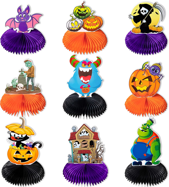 9 Pieces Halloween Party Decorations-Honeycomb Paper Fan Centerpieces Table Decor Kids Party Favors/Supplies