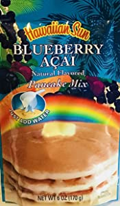 Hawaiian Natural Flavored Pancake Mix! Choose From Macadamia Nut Flavors! Just Add Water! 6oz Package! (Blueberry Açai)