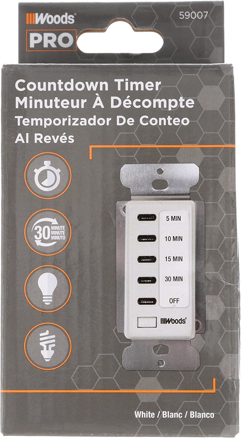Woods 59007WD In-Wall 30-Minute Decora Digital Countdown Timer, White -  Heat Lamp Fan - Amazon.com | Woods 59008 Timer Wiring Diagram |  | Amazon.com