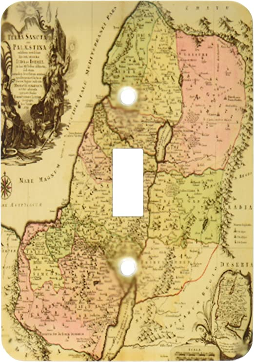 3dRose lsp/_79408/_1  1759 Copy of The Biblical Map of The Twelve Tribes of Ancient Israel and Palestine Single Toggle Switch
