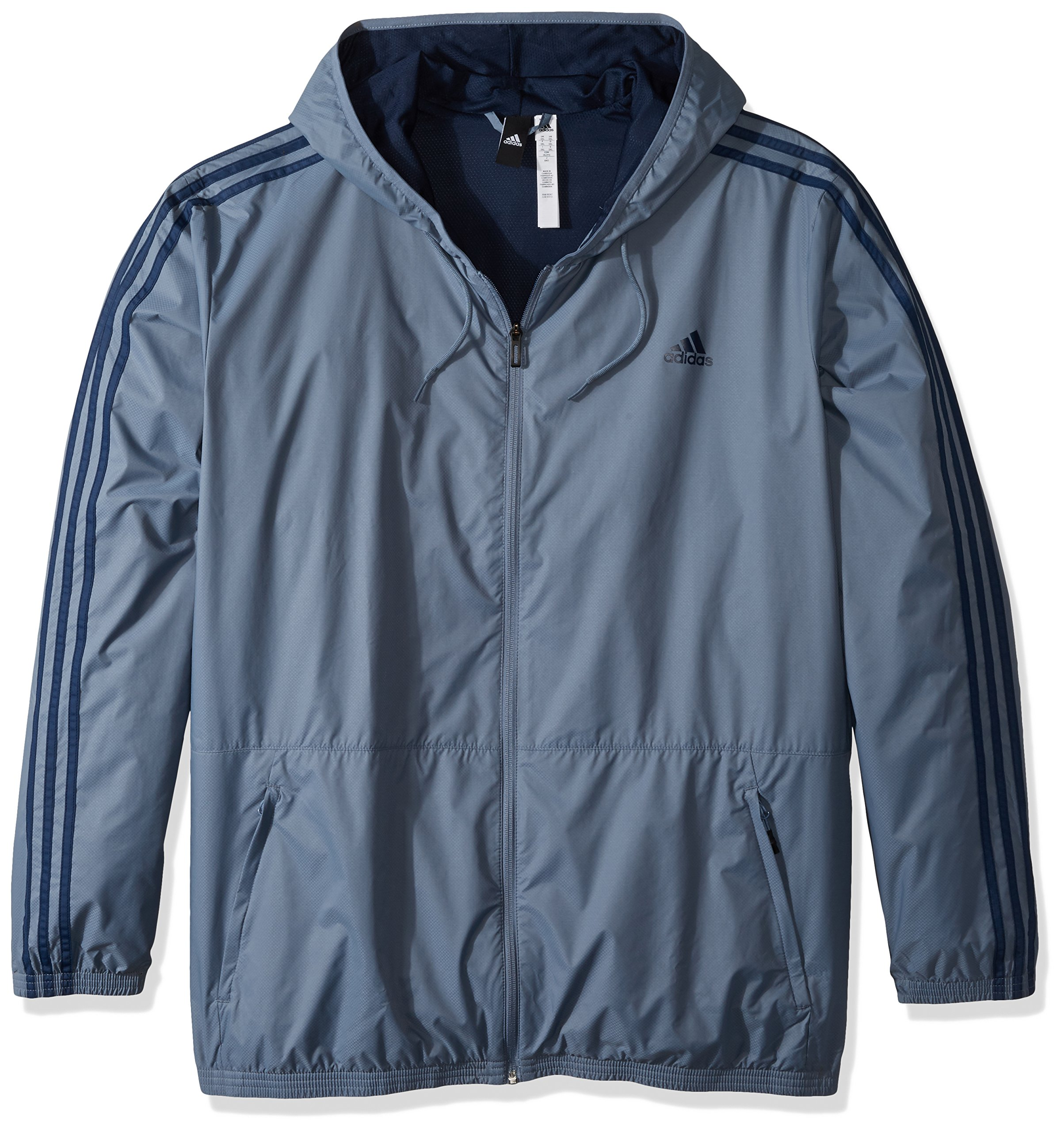 adidas Men's Essentials Wind Jacket, Raw Steel/Collegiate Navy, Small