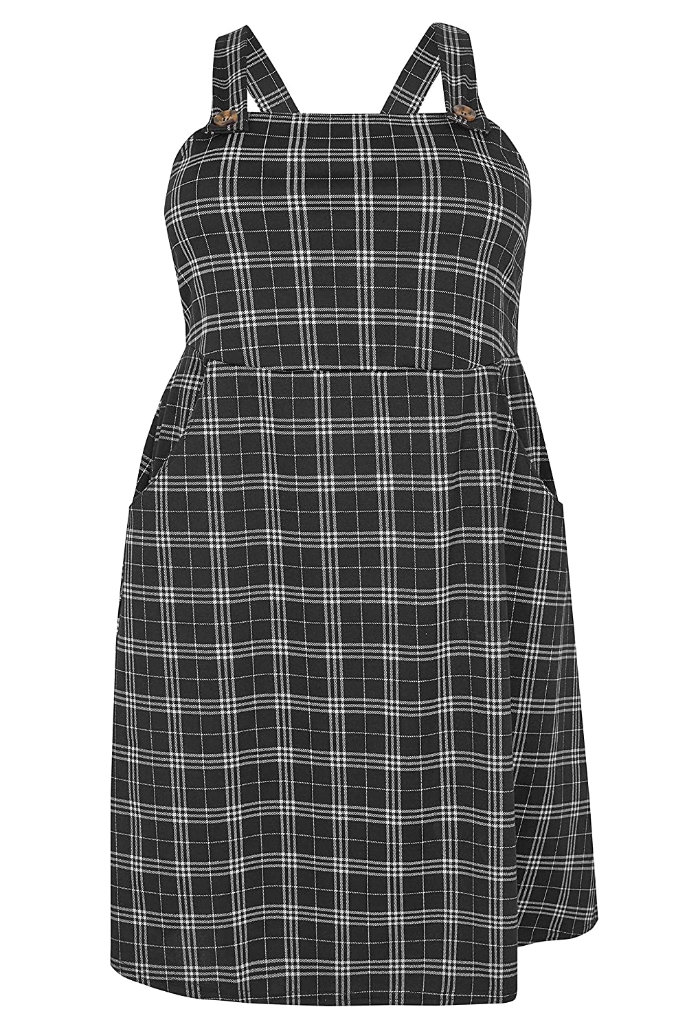 eff529d3c56 Yours Clothing Women s Plus Size Checked Button Pinafore Dress   Amazon.co.uk  Clothing