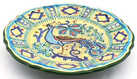 Art Escudellers Plato/Plato Pared Ceramica Pintado a Mano con Oro de 24K, Decorado