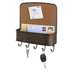 "iDesign Twillo Metal Wall Mount Corkboard, Key and Mail Rack, 5-Hook Organizer for Kitchen, Mudroom, Hallway, 11.5"" x 10.5"" x 2.5"", Bronze"
