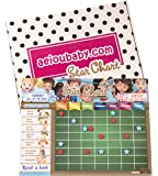 aeioubaby.com REWARD CHART Magnetic Large | Star Chart for wall or refrigerator 17x12.6 in.| 12 activities, 2 markers and 1 balloon | Presentation box perfect as a gift for children and birthdays