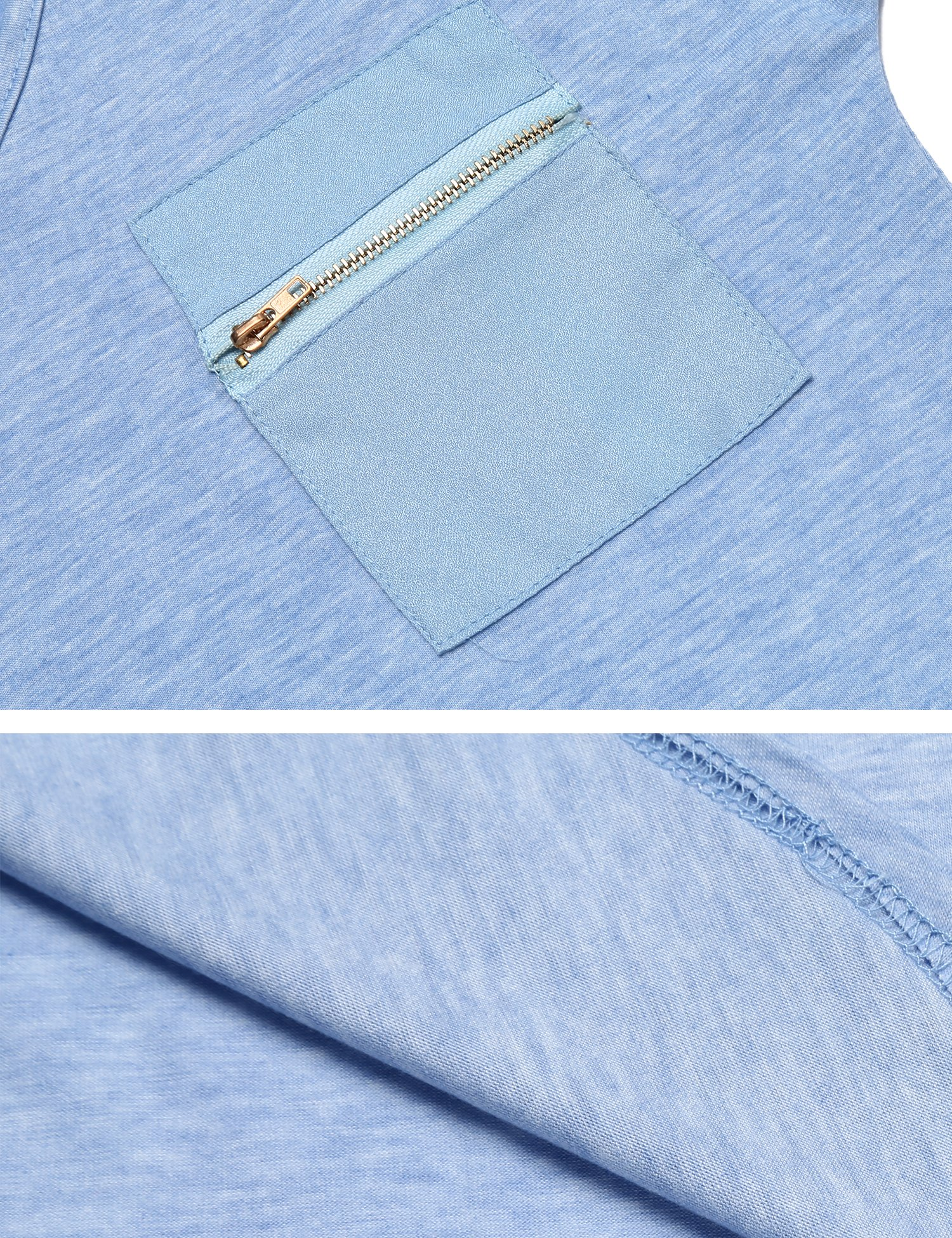 OURS Women's Casual Fashion Simple Comfy Knit Business Work T Shirt(Blue, S) by OURS (Image #7)