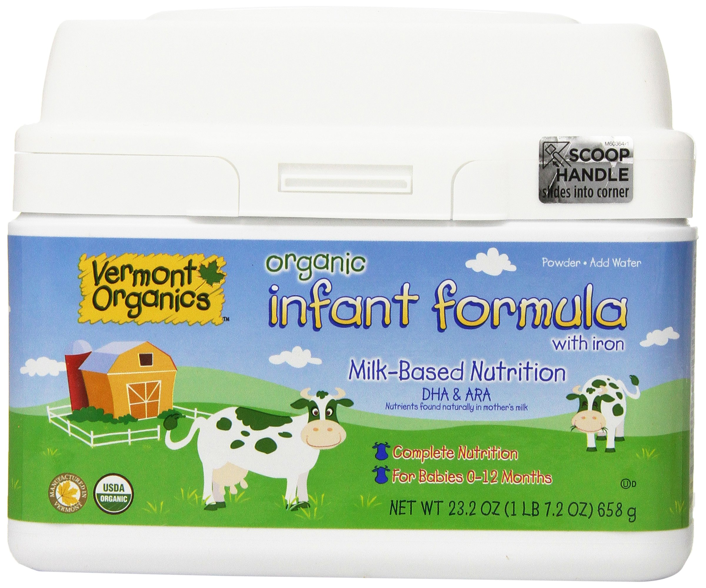Vermont Organics Milk-Based Organic Infant Formula with Iron, 23.2 oz.  (Pack of 4) by Vermont Organics