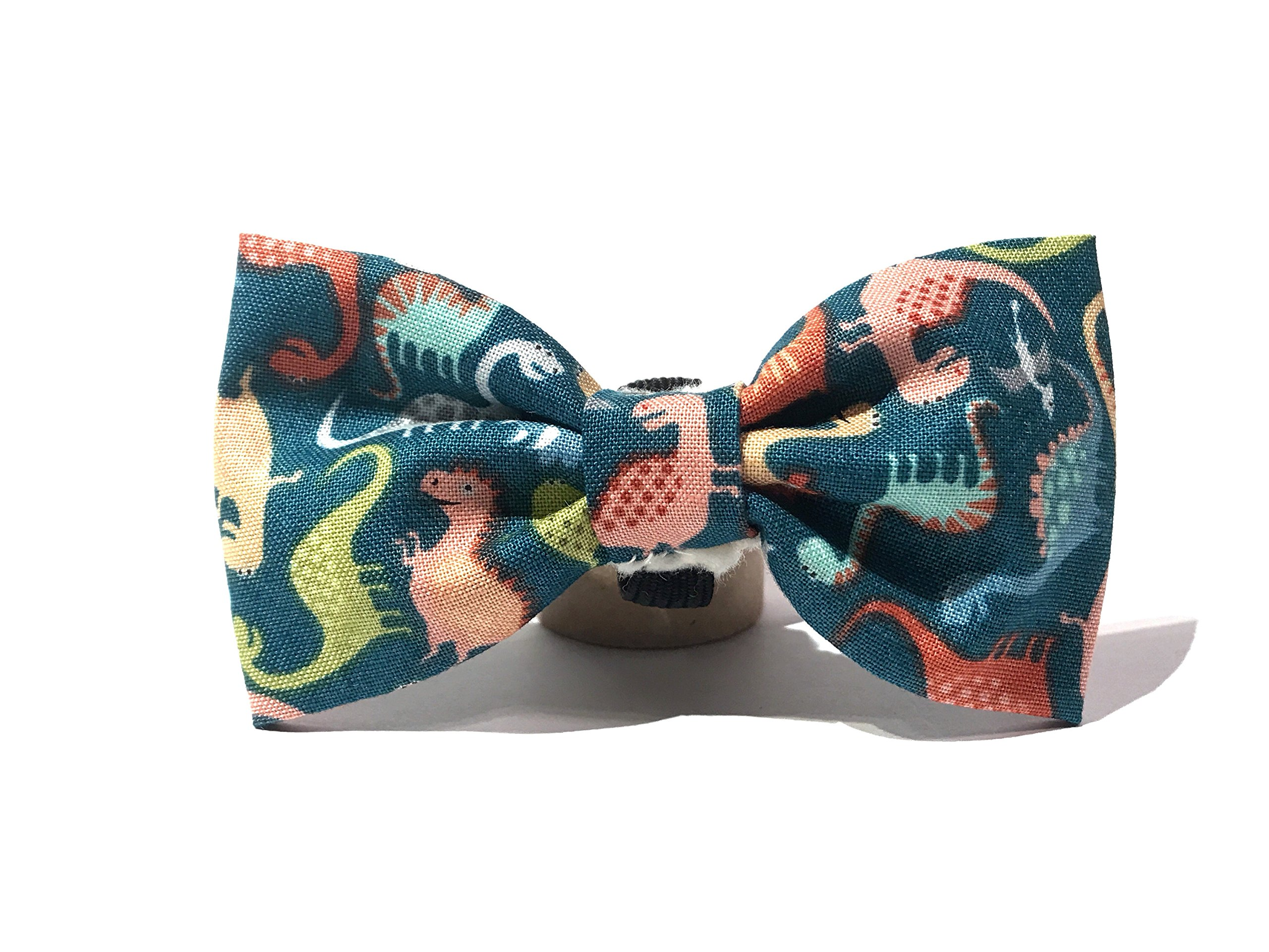 Very Vintage Design Dog Cat Collar Bow Tie Dino Island Turquoise Colorful Dinosaur Dino Boy Masculine Hand Crafted Collection Organic Cotton Personalized Adjustable Pet Bowtie
