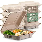 """100% Compostable Clamshell Take Out Food Containers [8X8"""" 3-Compartment 50-Pack] Heavy-Duty Quality to go Containers, Natural"""