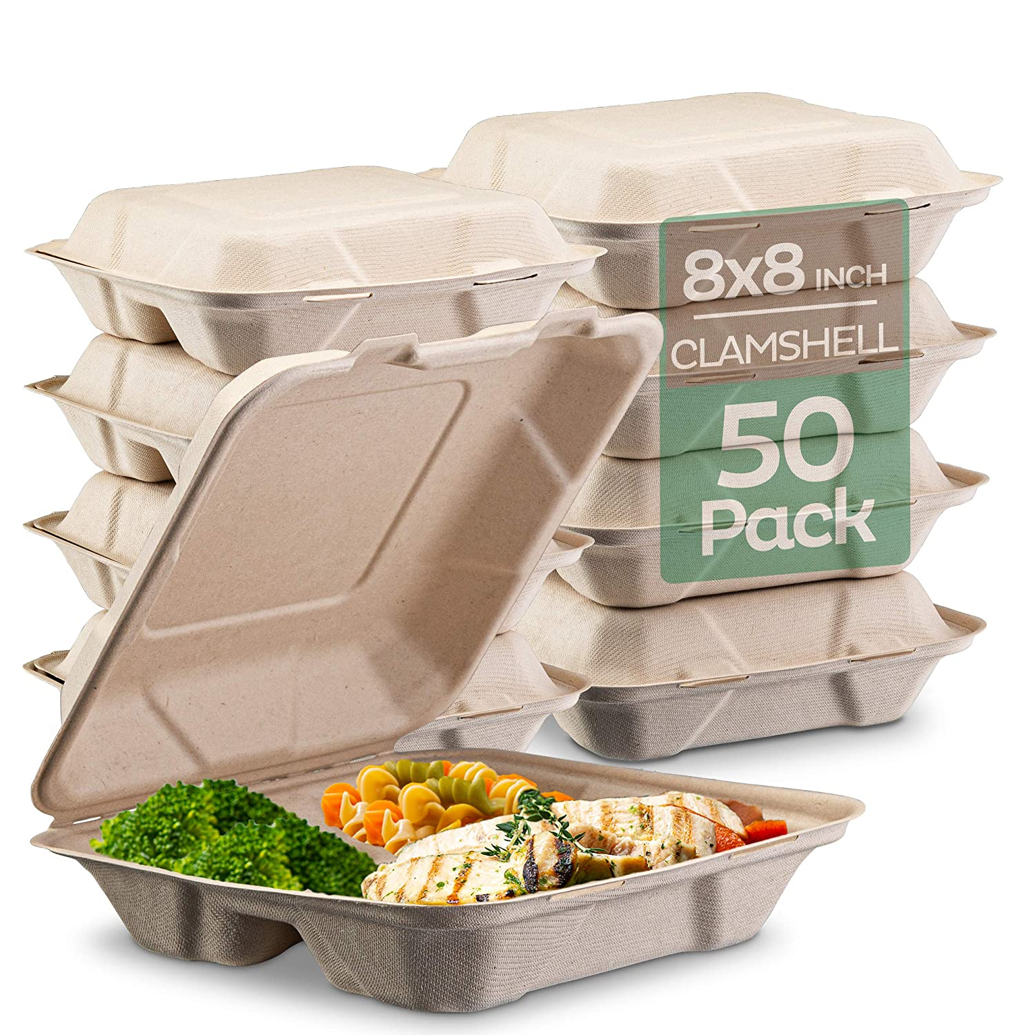"""Amazon.com: 100% Compostable Clamshell Take Out Food Containers [8X8"""" 3-Compartment 50-Pack] Heavy-Duty Quality to go Containers, Natural Disposable Bagasse, Eco-Friendly Biodegradable Made of Sugar Cane Fibers: Industrial & Scientific"""