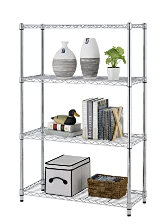 Storage Rack 4 Tier Chrome Organizer Kitchen Shelving Steel Wire Shelves  Cart