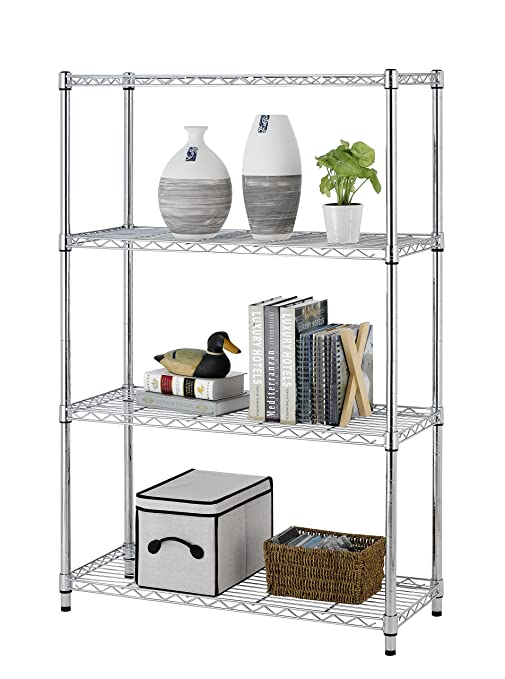 Amazon Com Storage Rack 4 Tier Chrome Organizer Kitchen Shelving