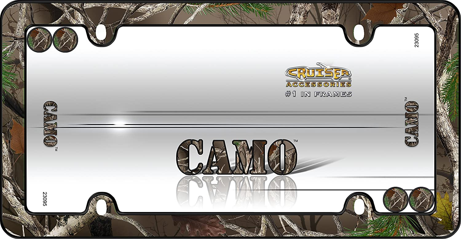 Cruiser Accessories 23095 Camo License Plate Frame with Fastener Cap Black
