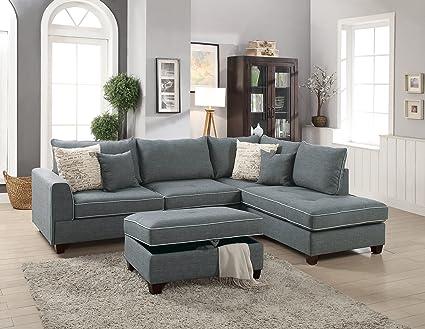 Amazon.com: Modern 3pc Sectional Sofa Living Room Furniture ...
