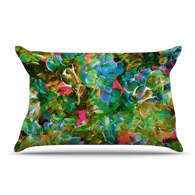 Kess InHouse EBI Emporium Bloom On Tropical Green BlueFeatherweight Sham 30 X 20