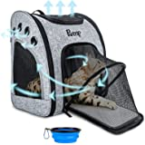 Cat Backpack Carrier Expandable for 1-12 Lbs Dogs Cats Puppy, Pet Carrier Backpack Airline Approved Travel with Ventilated Br