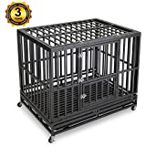 Gelinzon Heavy Duty Strong Metal Dog Cage Pet Kennel Crate Playpen with Wheels