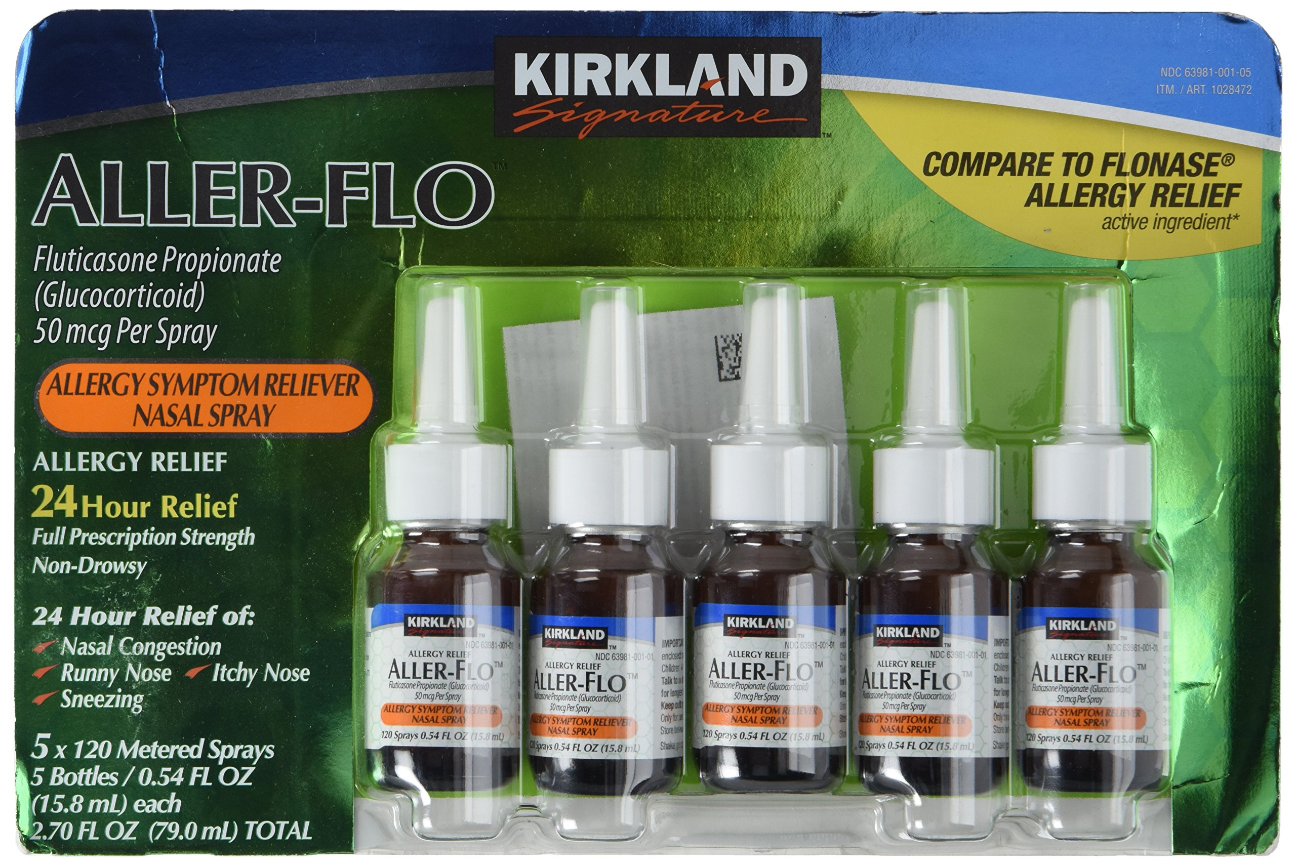 Kirkland Aller-Flo Fluticasone Propionate (Glucorticoid) 5 Bottles x 120 Metered Sprays .54 Fl OZ per Bottle (15.84 mL x 5) 2.70 OZ Total (79.0 mL Total) 600 Total Sprays Total by Kirkland Signature