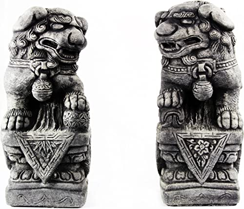 Foo Dog Pair Concrete Outdoor Garden Statue