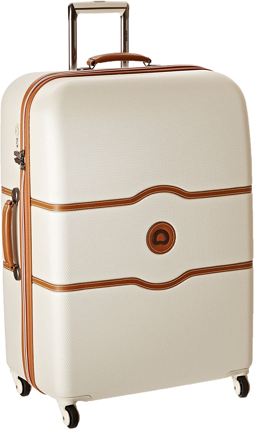 DELSEY Paris Chatelet Hard Hardside Large Checked Spinner Suitcase, Champagne, 28-Inch