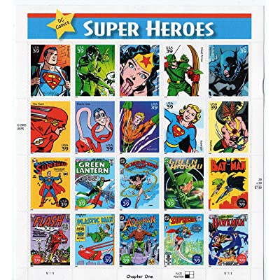 DC Comics Super Heroes Complete Pane of 20 39 Cent Postage Stamps Scott 4084: Everything Else