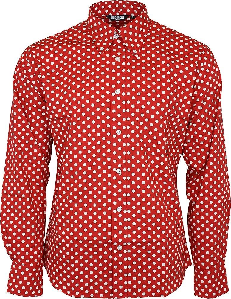 Relco - Camisa Casual - Button Down - Lunares - con Botones - Manga Larga - para Hombre Rojo Rosso XXXL: Amazon.es: Ropa y accesorios