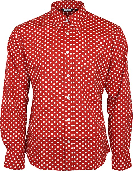 Camisa Manga Casual Botones Down Button Con Lunares Relco q8d7Aw8