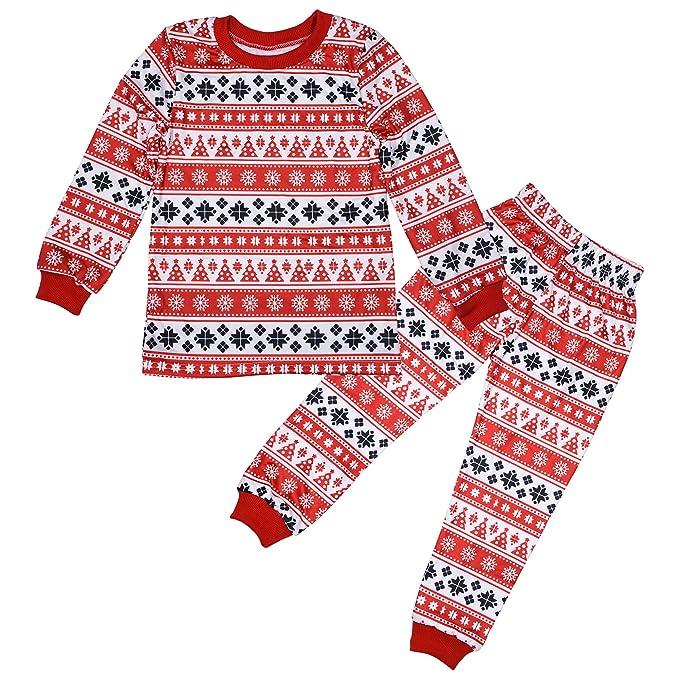 ZEVONDA Niños y Adultos Conjuntos de Pijamas de Navidad - Niño Papá Mamá Parejas Ropa de