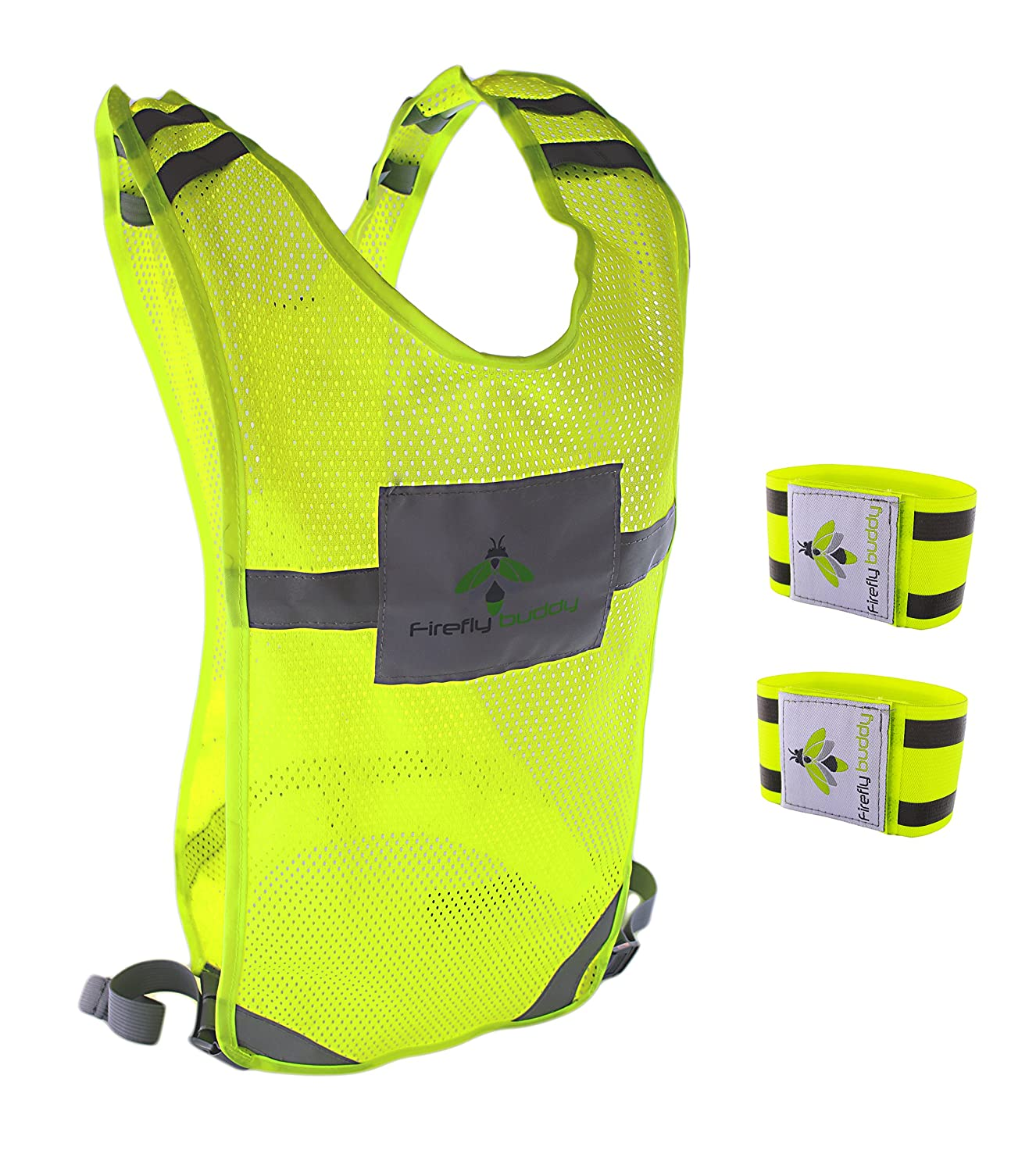 Biking Best Safety Gear for Men /& Women Outdoor Activities Cycling Firefly Buddy Great Reflective Vest for Running Walking with FREE Arm Bands