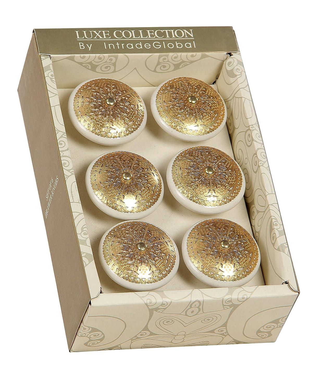 Birch Cabinet Novelty Ceramic Knobs (Set of 6) (Ivory Gold)