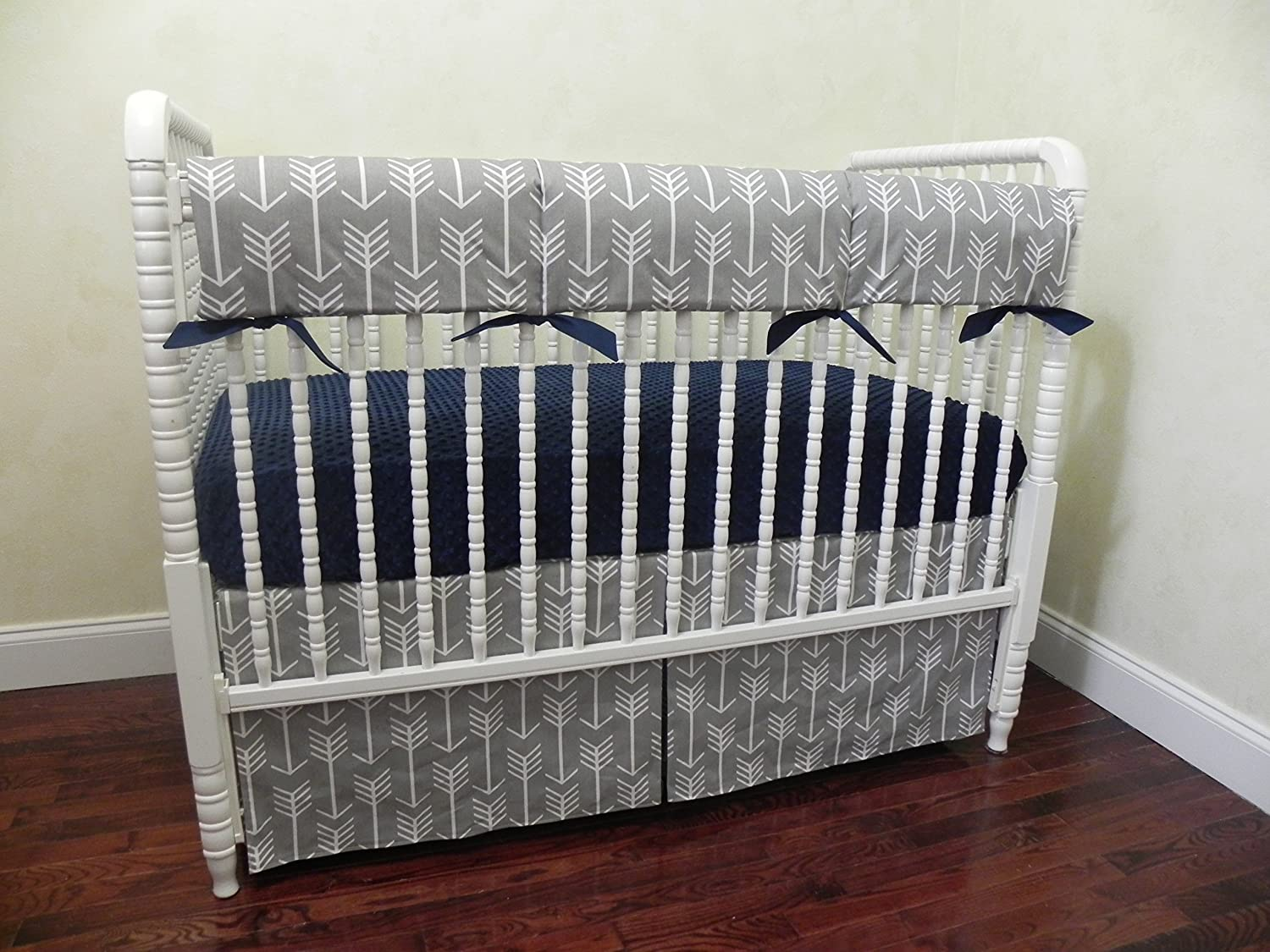 Choose Your Pieces Gray Arrows with Navy Tribal Baby Bedding Bumperless Baby Crib Bedding Set Baby Boy Bedding Nursery Bedding Teething Rail Guard Cover