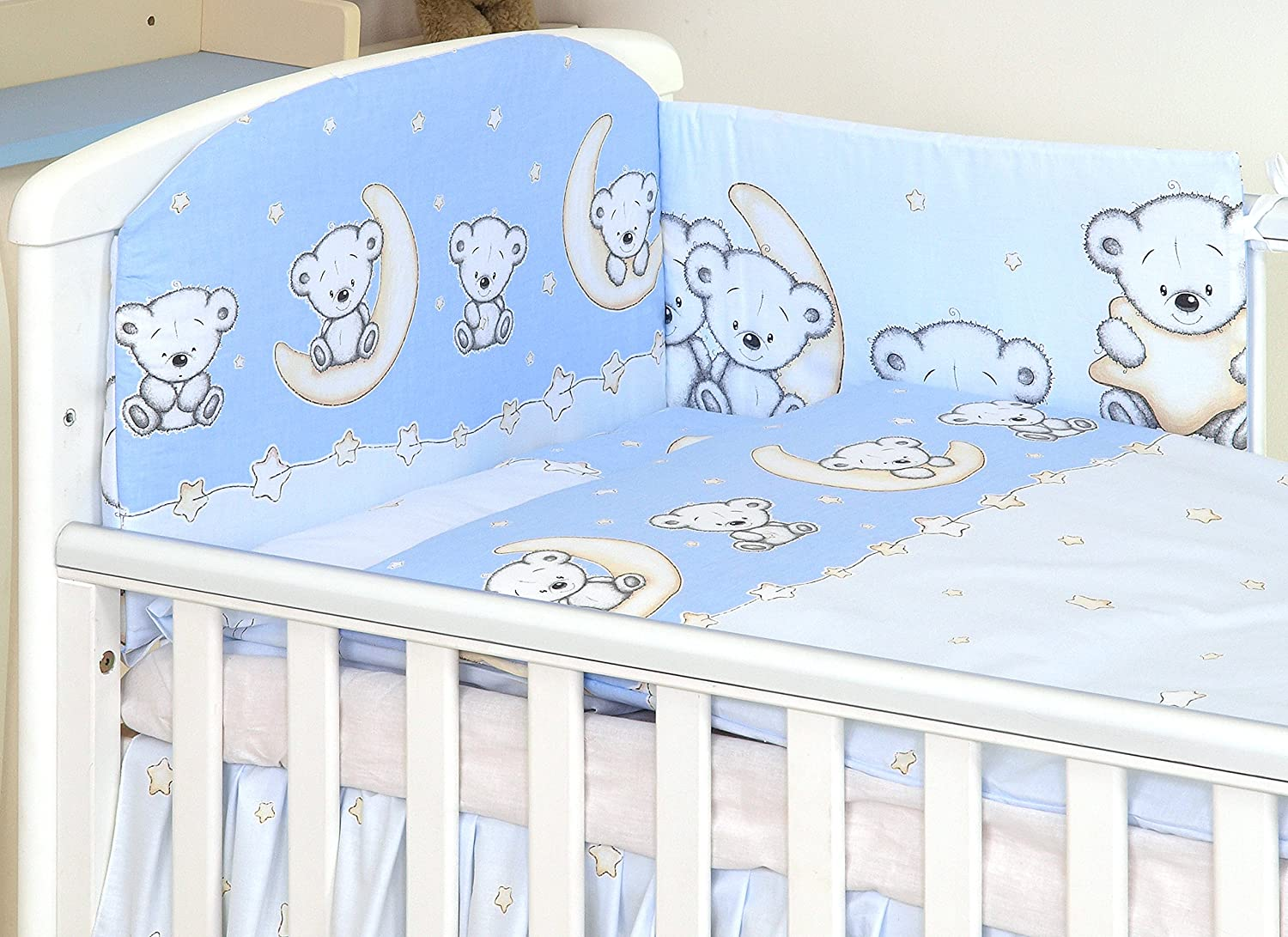 5 pc Baby Bedding Set for Cot 120X60 Or Cot Bed 140X70cm Inc -Duvet+Pillow+Duvet Cover+Pillow CASE+ Bumper- Teddy/OWL/Marine/Cars Pattern and More (Cot 120X60, Teddy Moon Grey) AMY