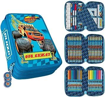 MovilCom® - Estuche Escolar 3 Cremalleras plumier con Material | Header Blaze | Fire: Amazon.es: Juguetes y juegos