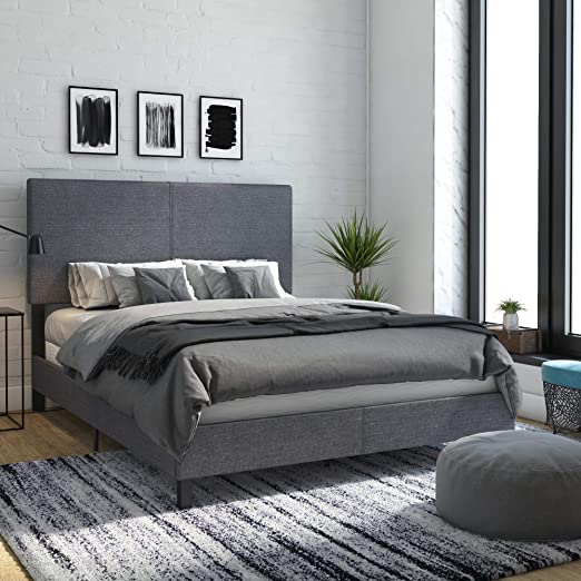 Amazon Com Dhp Janford Upholstered Bed With Chic Design Queen Grey Linen Furniture Decor