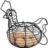 Farmhouse Style Black Metal Wire Chicken Design Egg Basket / Decorative Kitchen Storage Baskets