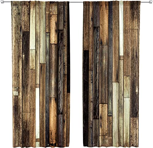 Riyidecor Rustic Wooden Barn Door Curtains Rod Pocket Wood Plank Brown Barnwood Western Country Style Lodge Farmhouse Printed Living Room Bedroom Window Drapes Treatment Fabric 2 Panels 52 x 84 Inch