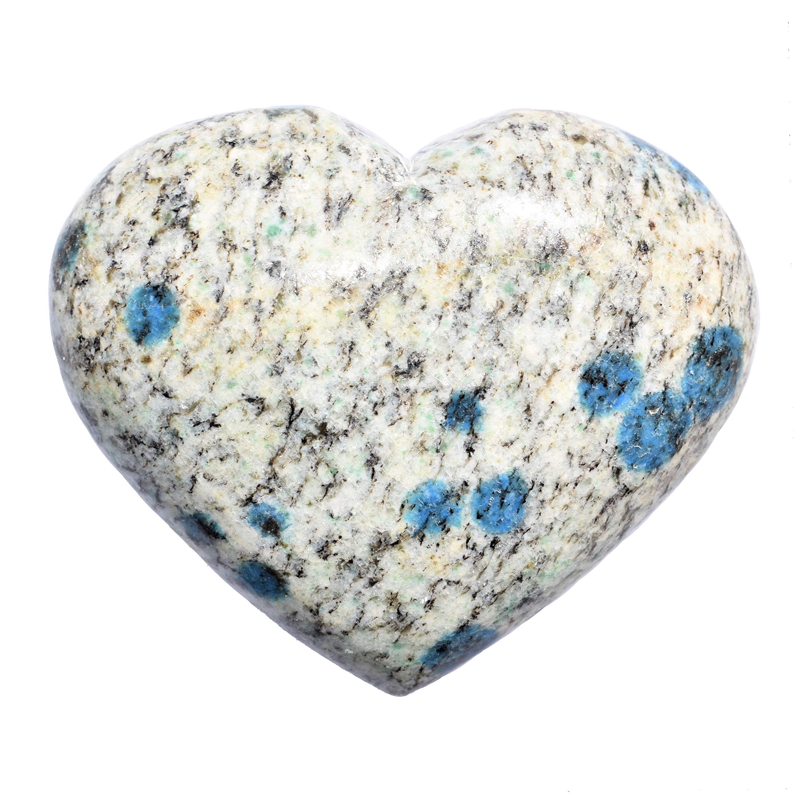 Zenergy Gems [1] One Charged 2'' Natural Himalayan K2 Granite (Azurite Spots) Crystal Hand-Carved Pocket Heart