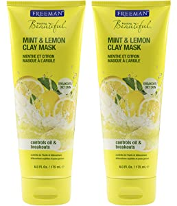 Freeman Oil Absorbing Clay Facial Mask, Pore Minimizing Beauty Face Mask with Mint and Lemon, 6 oz, 2 Pack