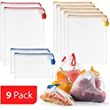 Vandoona Food-safe Reusable Mesh Produce Bag ? Set of 9 Strong See-Through Mesh Bags for Fruit Veggies Fridge Organizing Toys & Books. Color-Coded Drawstring by Size & Tare Weight Tags.
