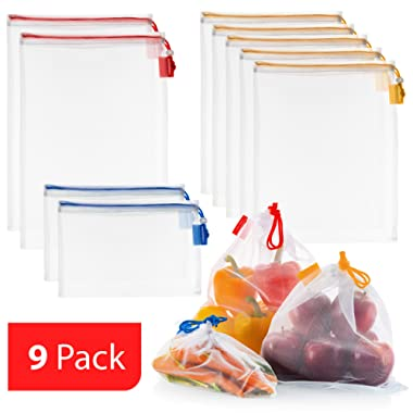Vandoona Reusable Produce Bags Set of 9, Strong See Through Washable Premium Mesh Reusable Bags for Fruit & Veggies Grocery Shopping, Color Coded Drawstring by Size & Tare Weight Tags, S, M, L